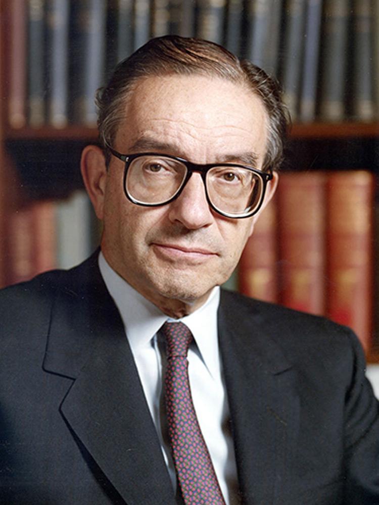 Алан Гринспен, 13-й Председатель Совета управляющих Федеральной резервной системы (1987-2006 гг.) при Рейгане, Дж. Буше-старшем, Клинтоне, Дж. Буше-младшем