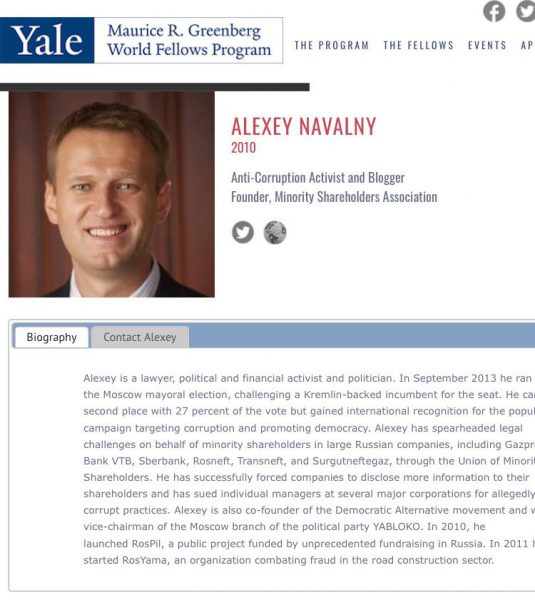aleksej navalnyj yale world fellows jelskij universitet