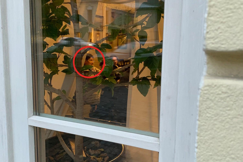 Анна Пастухова в окне Музея истории Екатеринбурга