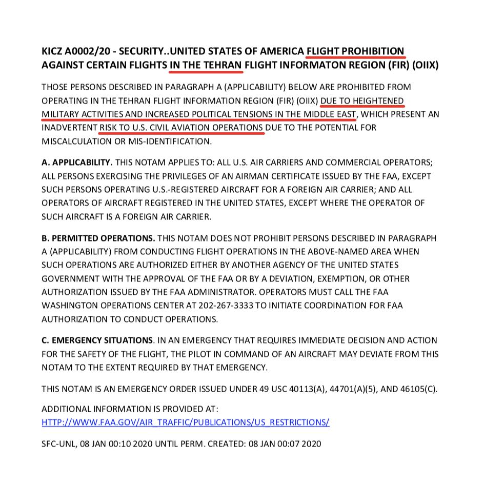 Директива Федерального управления США по гражданской авиации (FAA) о запрещении полётов над Ираном, Ираком, Персидским и Оманским заливами.