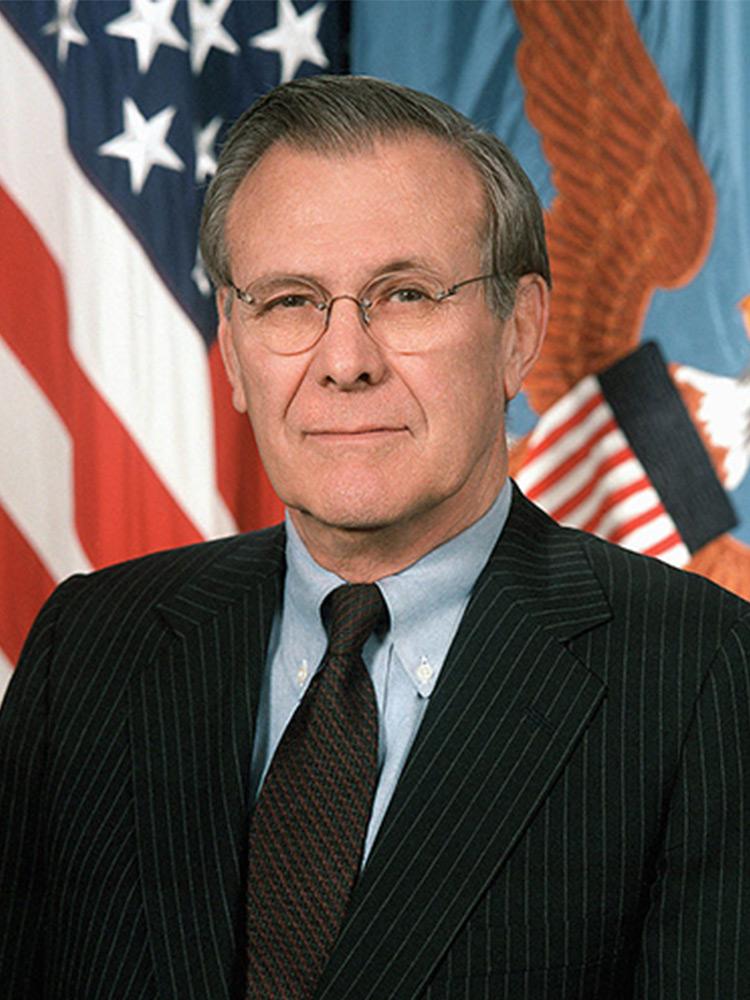 Дональд Рамсфельд, американский политик-республиканец, министр обороны в 1975-1977 годах и в 2001-2006 годах.