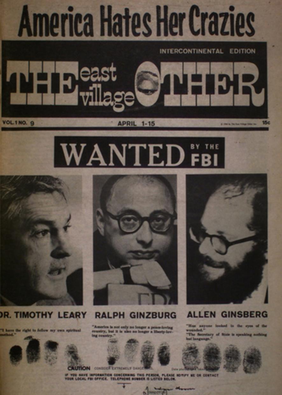 Разыскиваются ФБР: Тимоти Лири, Ральф Гинзбург, Аллен Гинзберг