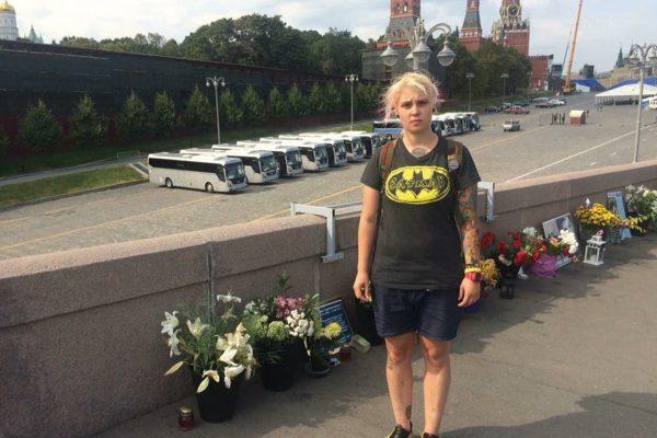 Яна Захарова на месте убийства Бориса Немцова