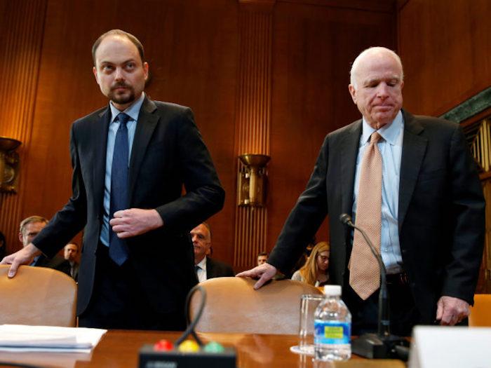 Russian opposition leader Vladimir Kara-Murza, vice chairman of Open Russia, and Senator John McCain (R-AZ) prepare to testify before a Senate Appropriations Subcommittee in Washington