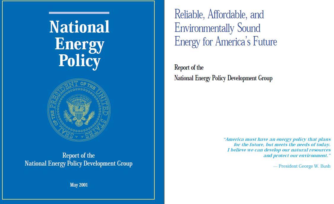 Первые две страницы Национальной энергетической политики США