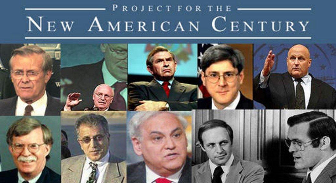 Дик Чейни (второй слева вверху) среди лидеров проекта «Новый американский век»