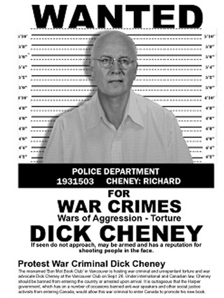 Постер к протестам против политики Дика Чейни