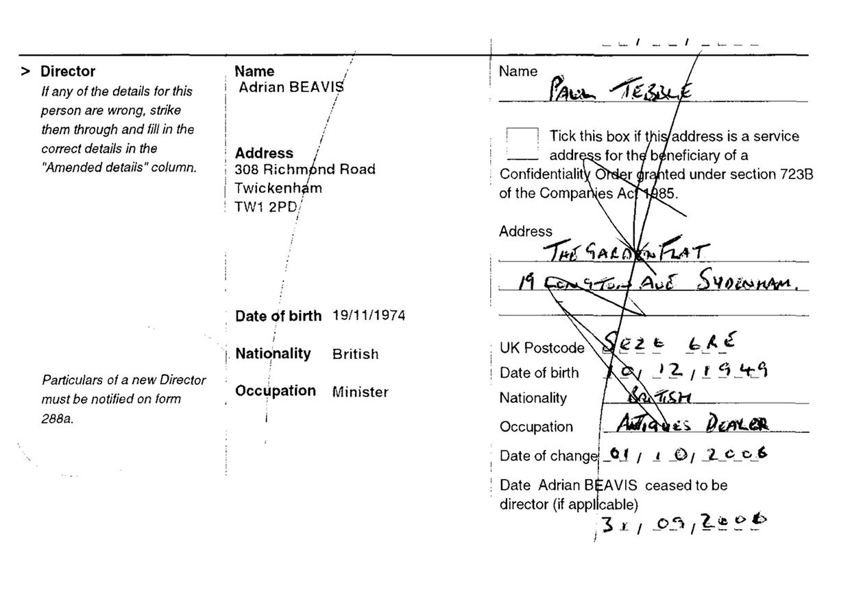 Пол Тэббл. Впервые появляется в отчетах в 2006 году, однако зачёркивается, так и не став директором де-юре.